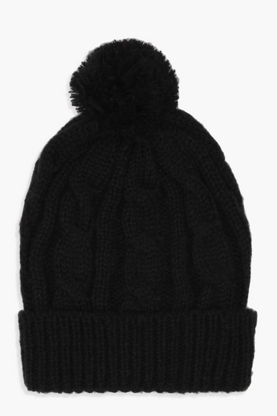 Womens Black Cable Knit Pom Beanie