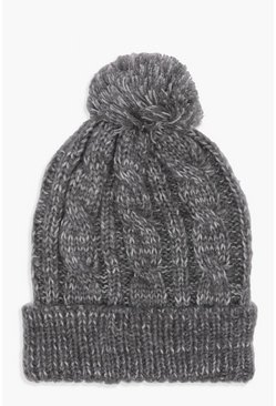 Womens Grey Cable Knit Pom Beanie