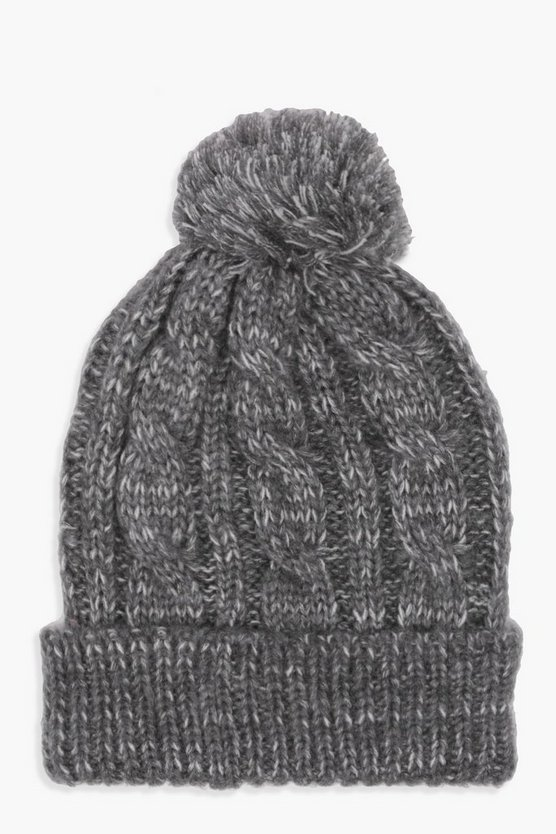 Cable Knit Pom Beanie, Grey, Donna