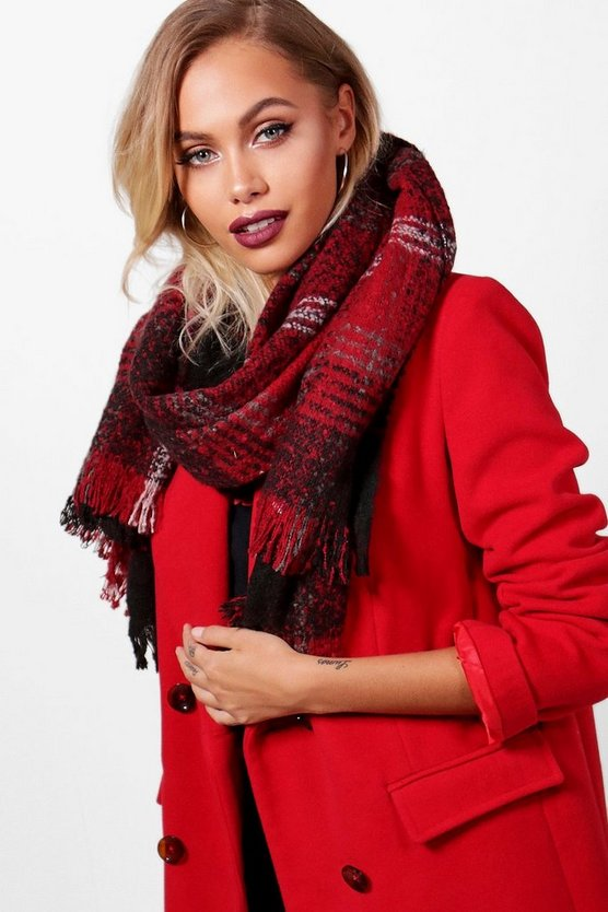 Cathy Red Checked Boucle Scarf