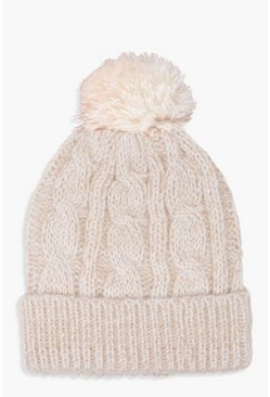 Womens Cream Cable Knit Pom Beanie