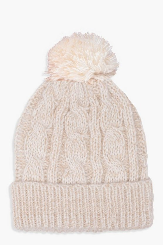 Cable Knit Pom Beanie, Cream, Donna