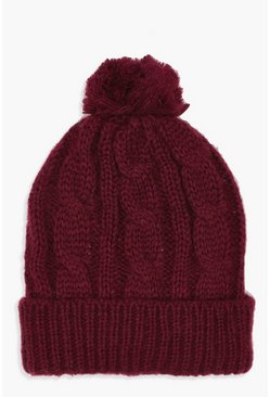 Womens Red Cable Knit Pom Beanie