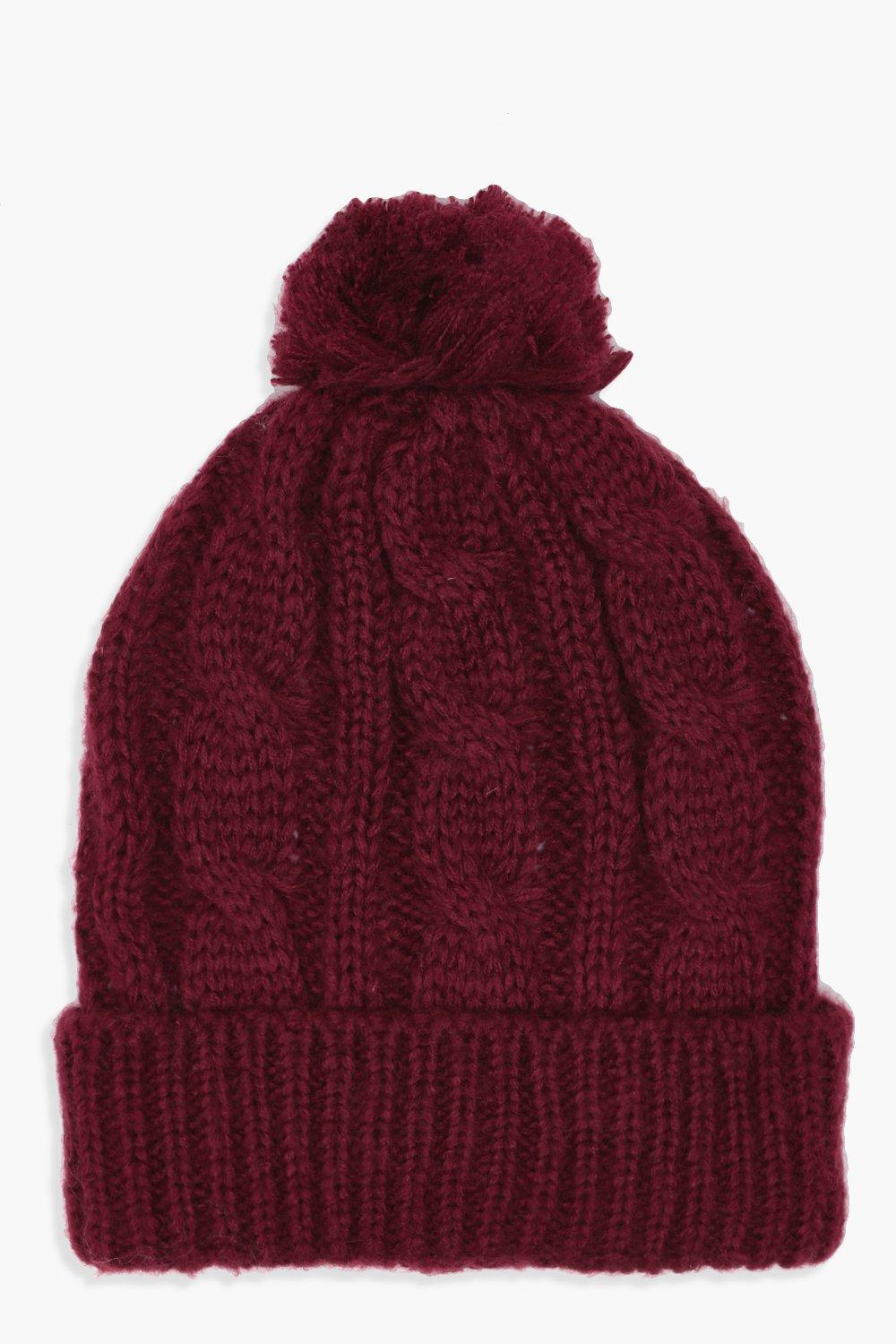 e2ce3479695 Cable Knit Pom Beanie. Hover to zoom
