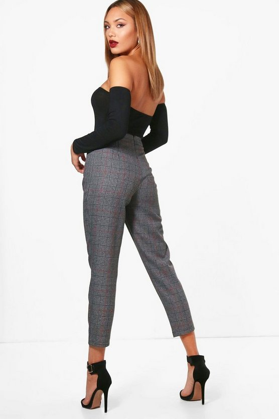Lily Slim Fit Turn Up Check Woven Trouser