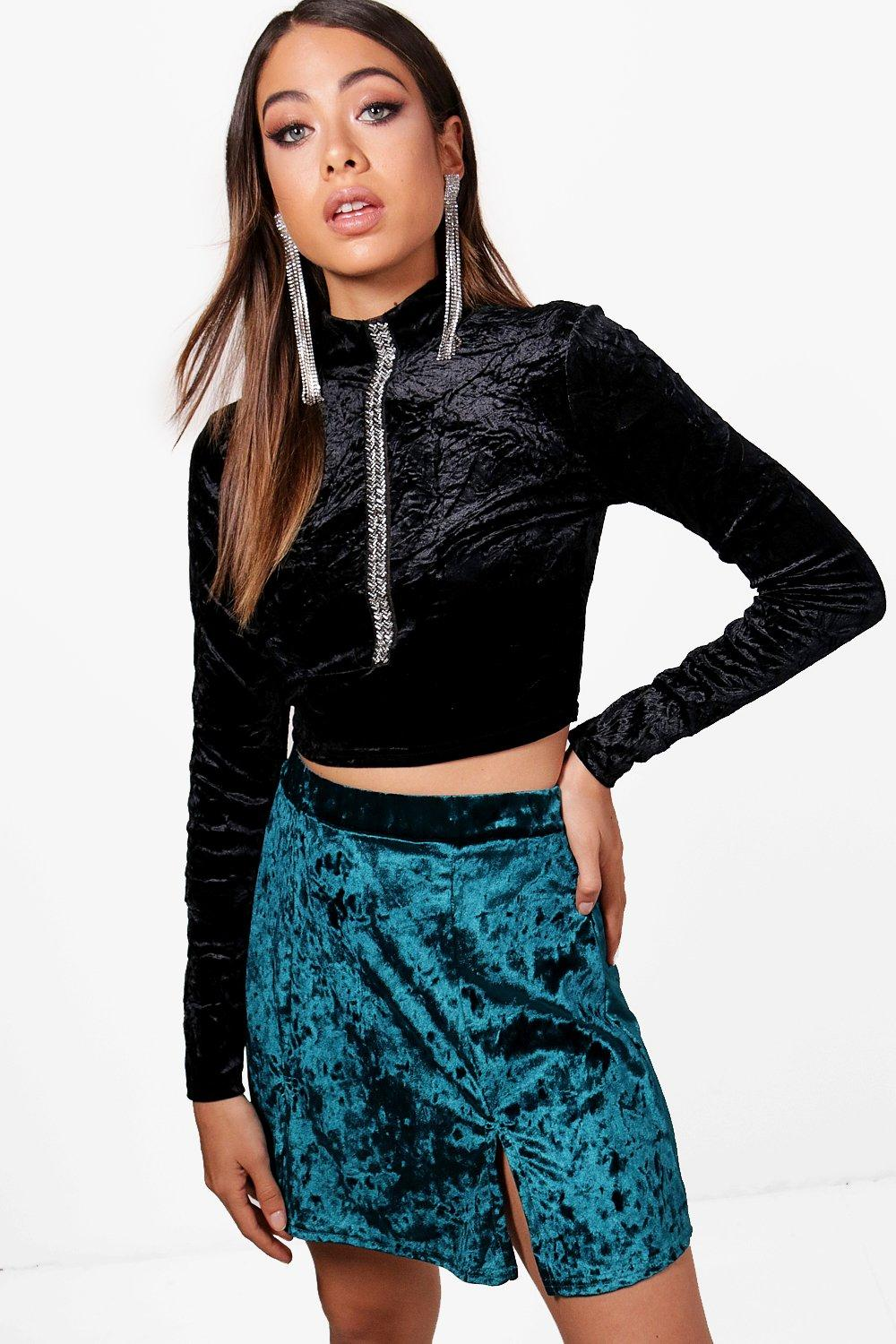 942764348 Crushed Velvet Double Split Mini Skirt | Boohoo