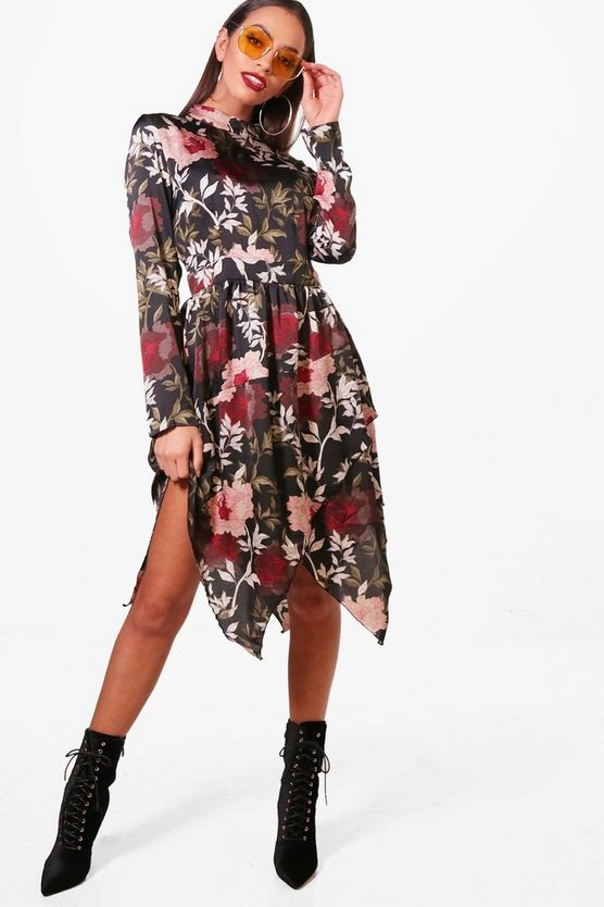 High Neck Long Sleeve Midi Dress