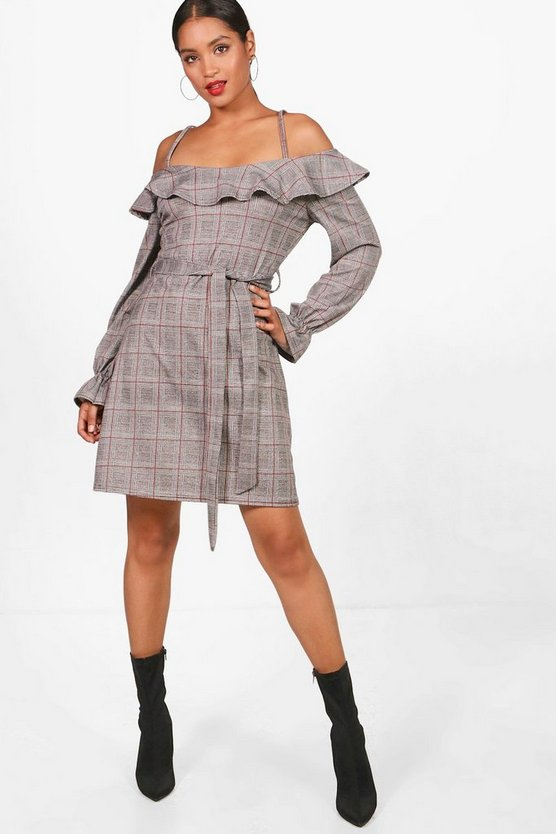 Ruffle Detail Tie Waist Check Shift Dress