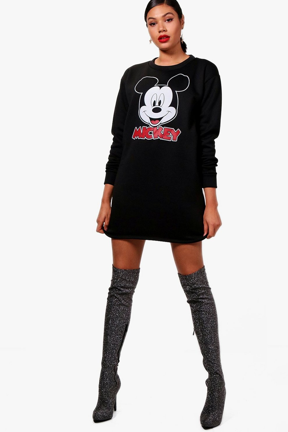 Disney Mickey Printed Sweat Dress Boohoo Long Hem Denim