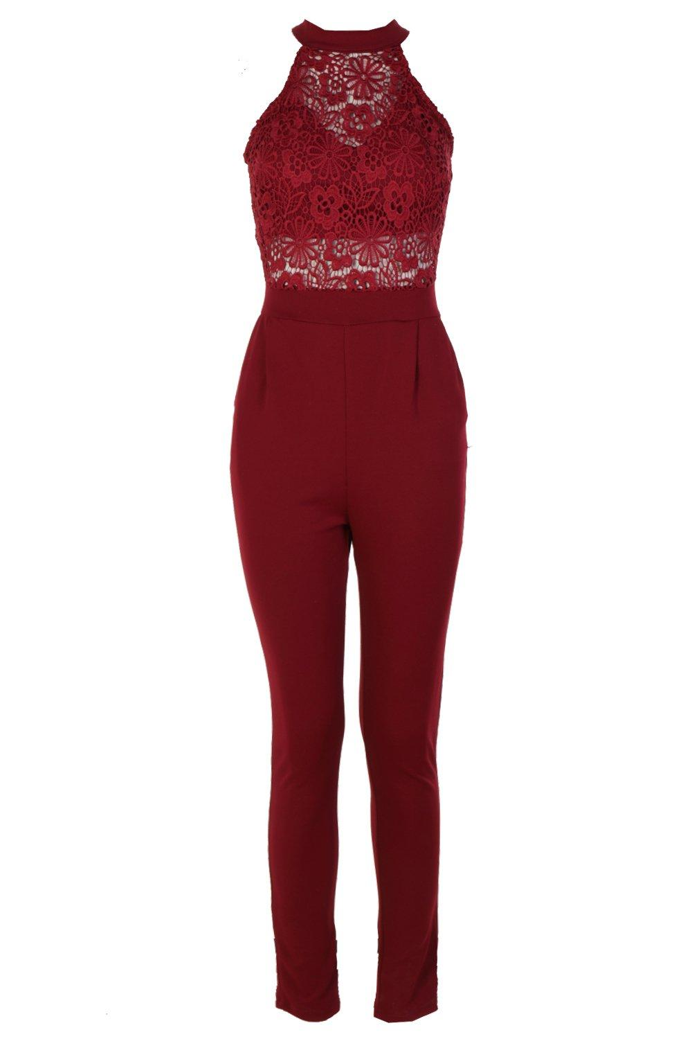 Crochet berry High High Crochet berry Neck Jumpsuit Jumpsuit Neck Neck High Awxqwv8aRn