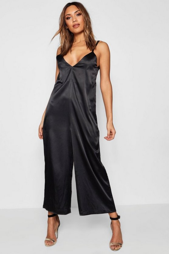 Womens Black Satin Wide Leg Jumpsuit