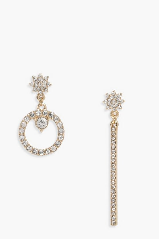 Natalie Diamante Mismatch Hoop & Bar Earrings