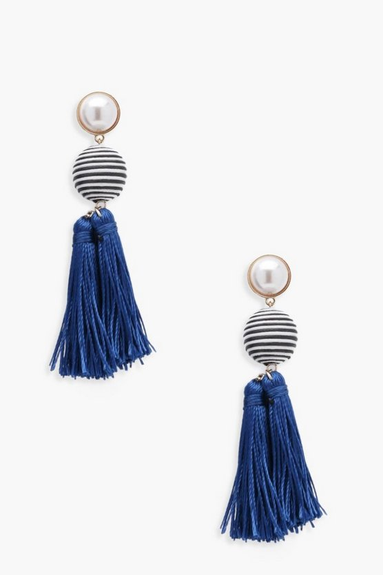 Emma Pearl & Stripe Tassel Earrings