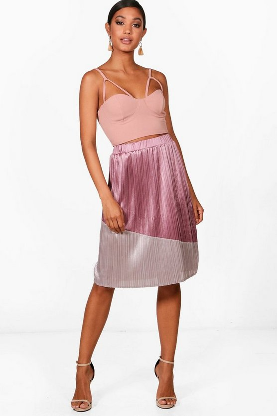 Colour Block Pleated Satin Midi Skirt