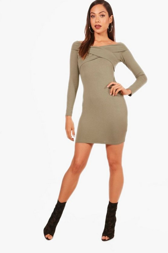 Cross Front Long Sleeved Bodycon Dress