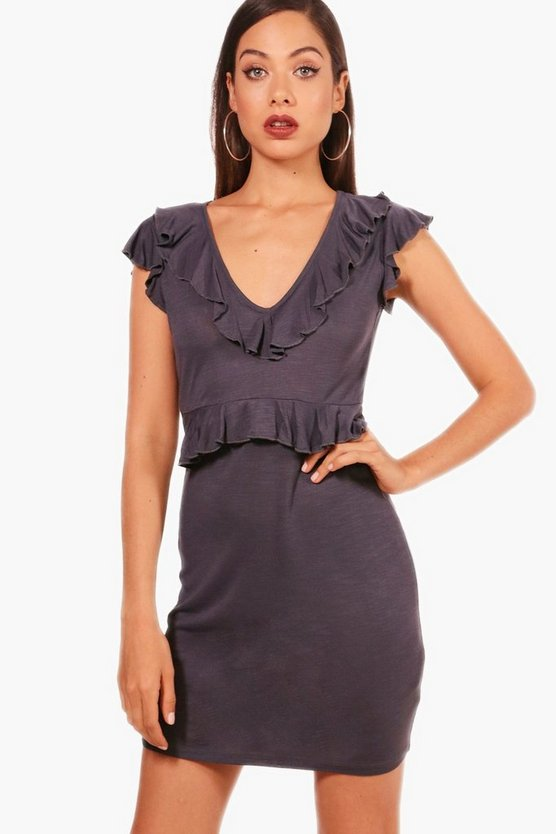 Charcoal Ruffle Detail Shift Dress