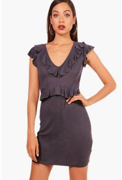 Womens Charcoal Ruffle Detail Shift Dress