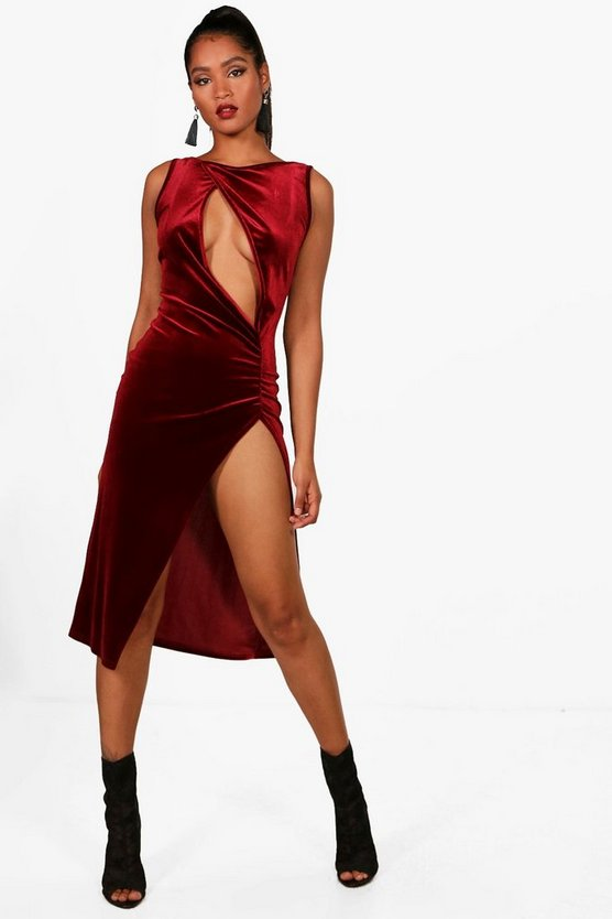 Velvet Slash Front Thigh Split Midi Dress