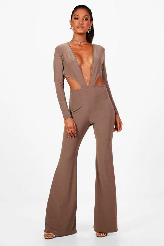 Wide Leg Chain Detail Plunge Jumpsuit
