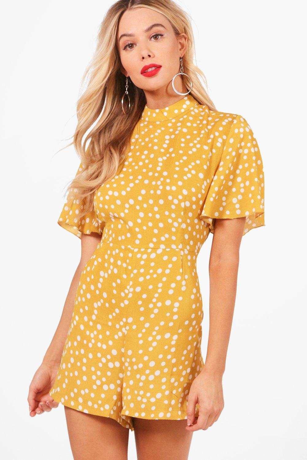 Vintage Rompers, Playsuits | Retro, Pin Up, Rockabilly Playsuits Womens Polka Dot Flute Sleeve Romper - Yellow - 12 $18.00 AT vintagedancer.com