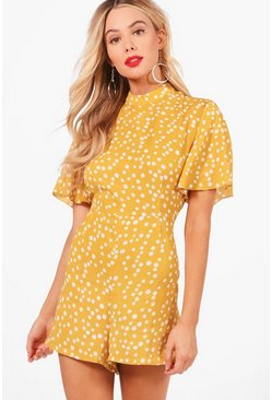 Womens Mustard Polka Dot Flute Sleeve Playsuit