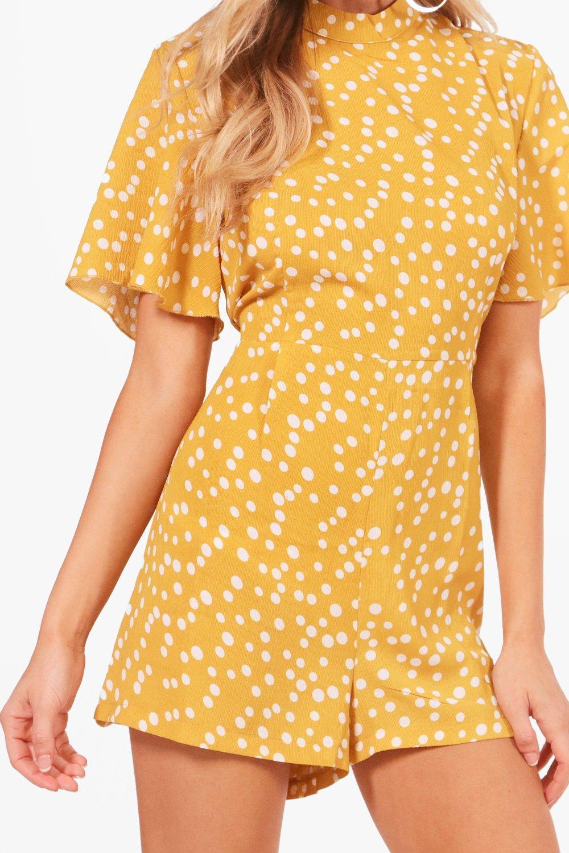 Playsuit Dot mustard Sleeve Polka Flute Zq7wdXtxt