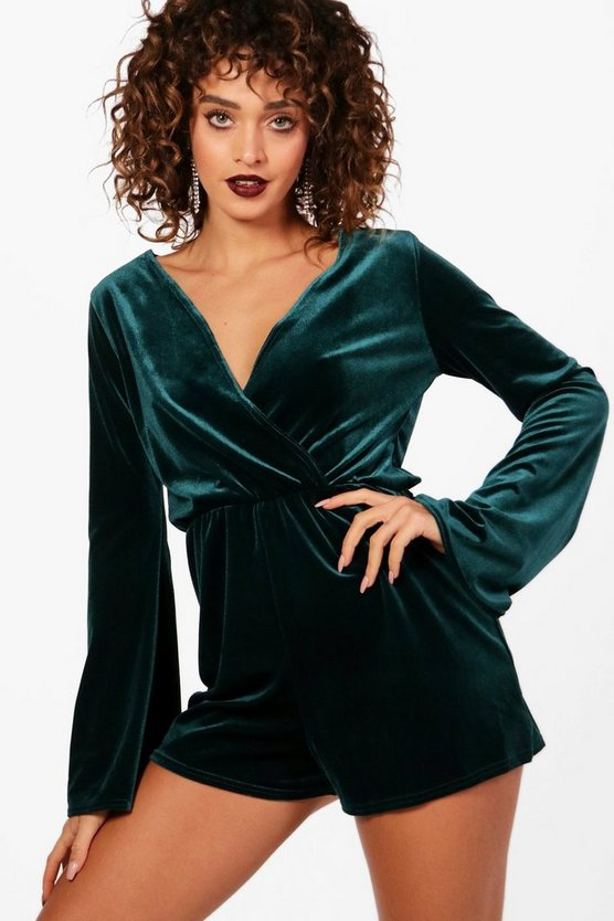 Wrap Flared Sleeve Velvet Playsuit