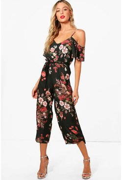 Cold Shoulder Dark Floral Jumpsuit, Khaki, Donna