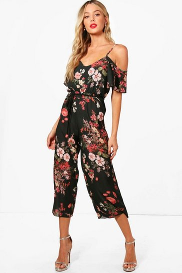 Womens Khaki Cold Shoulder Dark Floral Jumpsuit