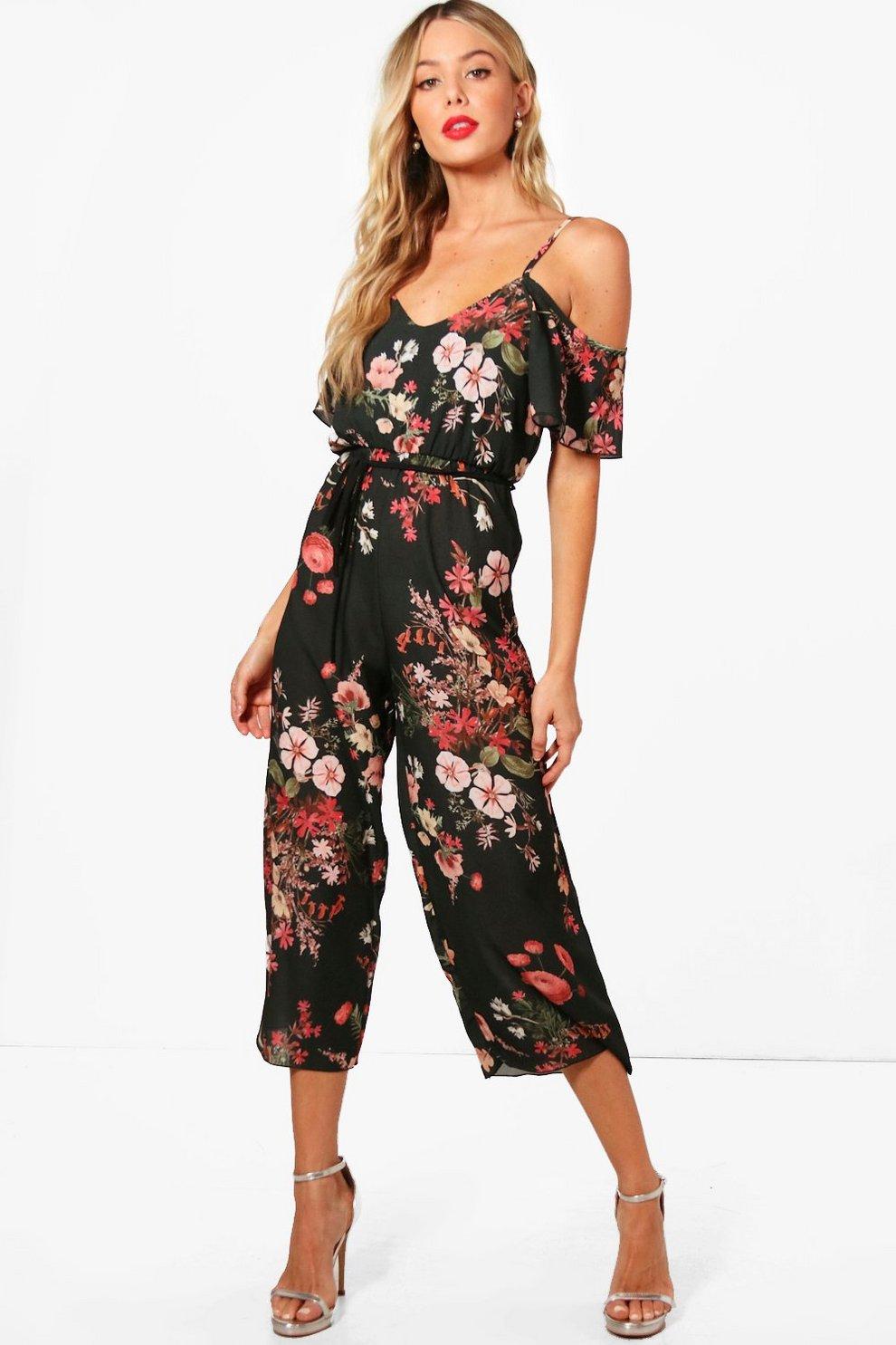 806e958189 Cold Shoulder Dark Floral Jumpsuit