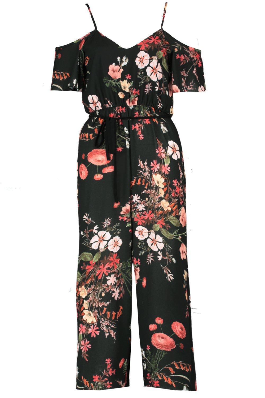 Dark Cold Floral Shoulder khaki Jumpsuit SqUqfnHxw