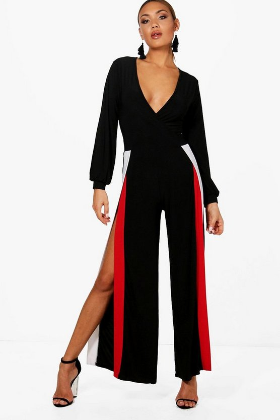 Split Leg Sports Stripe Jumpsuit, Black, Donna