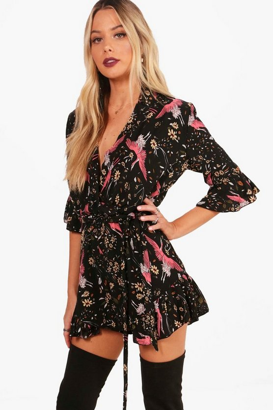 Wrap Oriental Print Playsuit