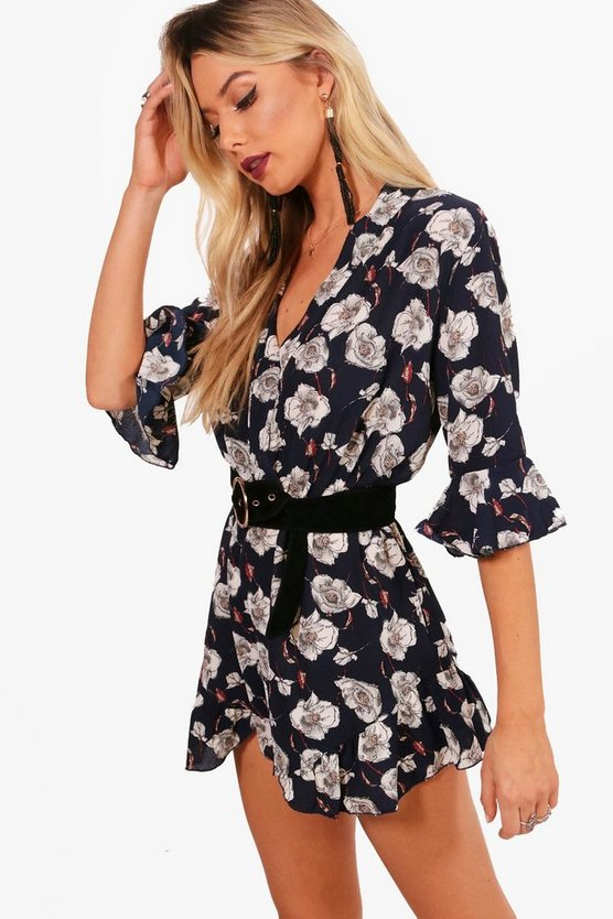 Floral Wrap And Ruffle Playsuit