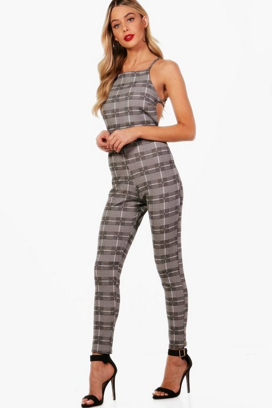 Pinafore Style Check Jumpsuit