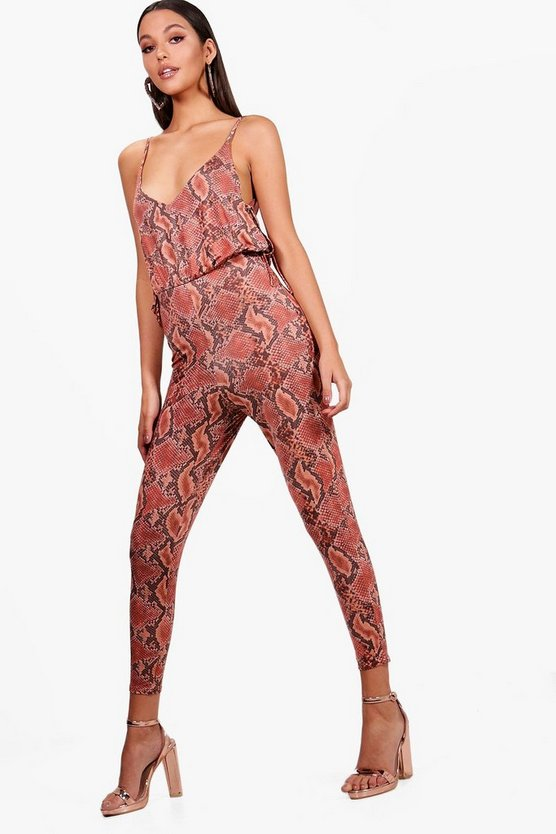 Tie Side Snake Print Wide Leg Jumpsuit