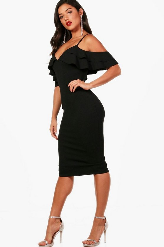 Womens Black Ruffle Cold Shoulder Midi Dress