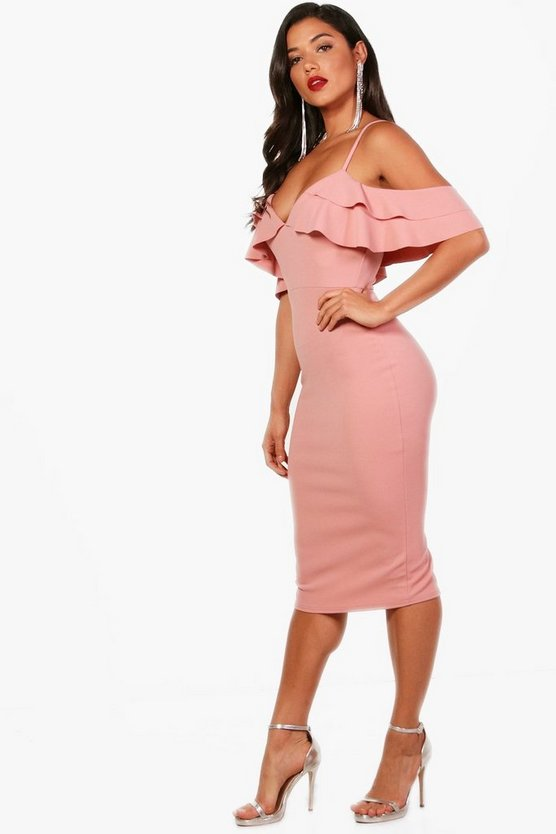 Ruffle Cold Shoulder Midi Dress