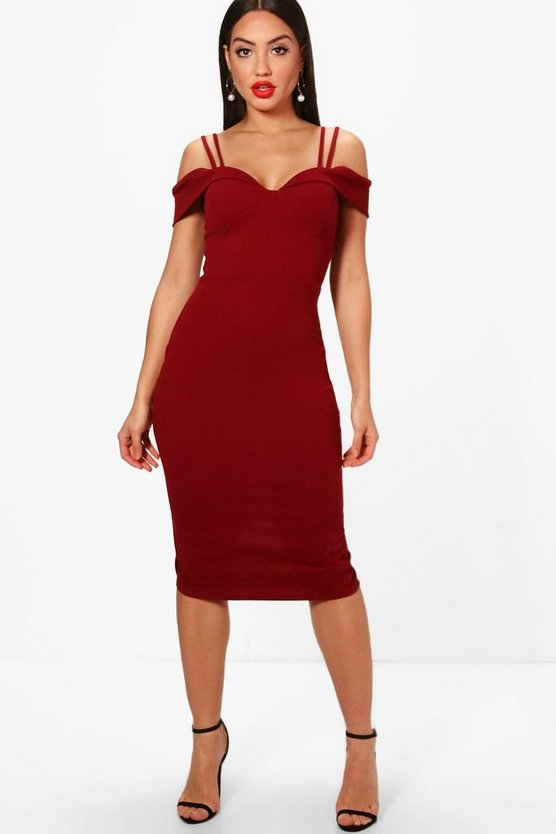 Womens Berry Strappy Cold Shoulder Midi Dress
