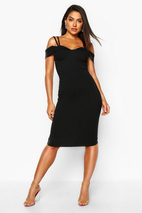 Womens Black Strappy Cold Shoulder Midi Dress