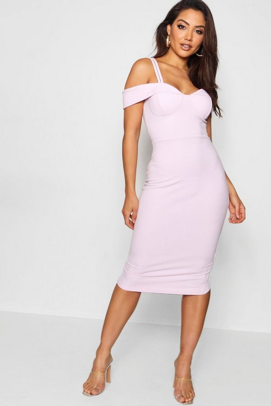 Womens Mauve Strappy Cold Shoulder Midi Dress