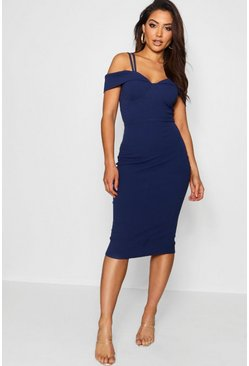 Womens Navy Strappy Cold Shoulder Midi Dress