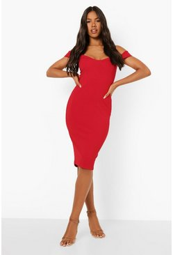 Womens Red Strappy Cold Shoulder Midi Dress
