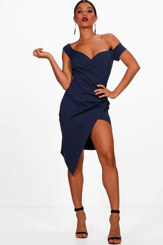 Off the Shoulder Wrap Detail Midi Dress