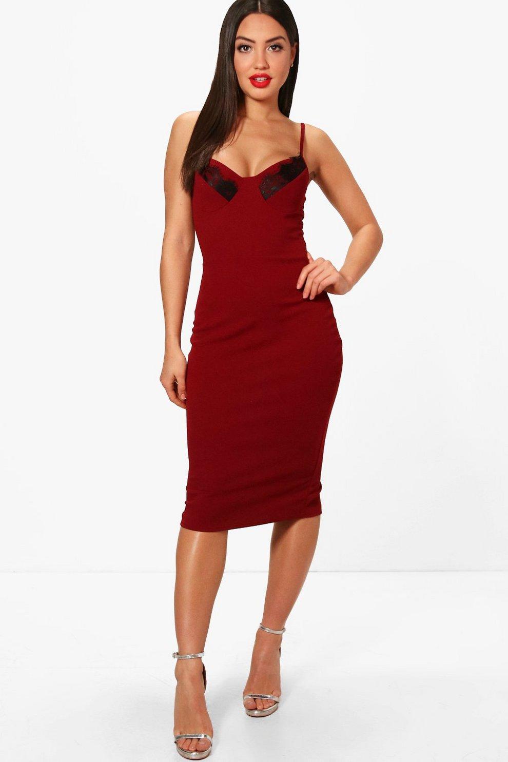 a62655bb402 Lace Cup Detail Strappy Midi Dress