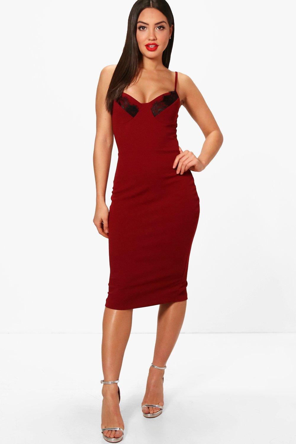 c72174d854f Womens Berry Lace Cup Detail Strappy Midi Dress. Hover to zoom