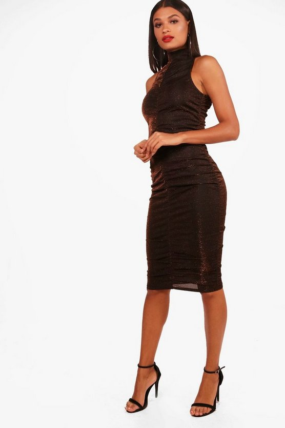 Ruched Metallic High Neck Midi Dress