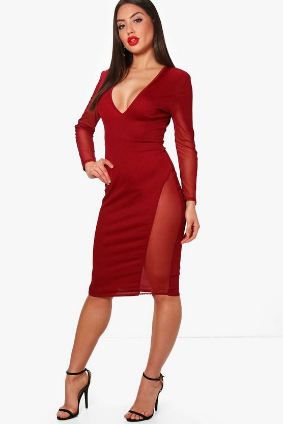 Womens Plunge Neck Mesh Insert Midi Dress