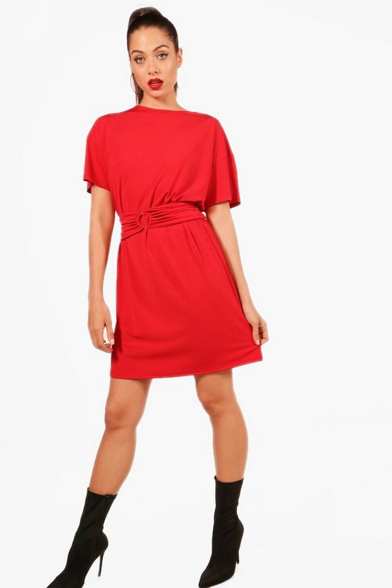 Womens Red O Ring Slinky Bodycon Dress