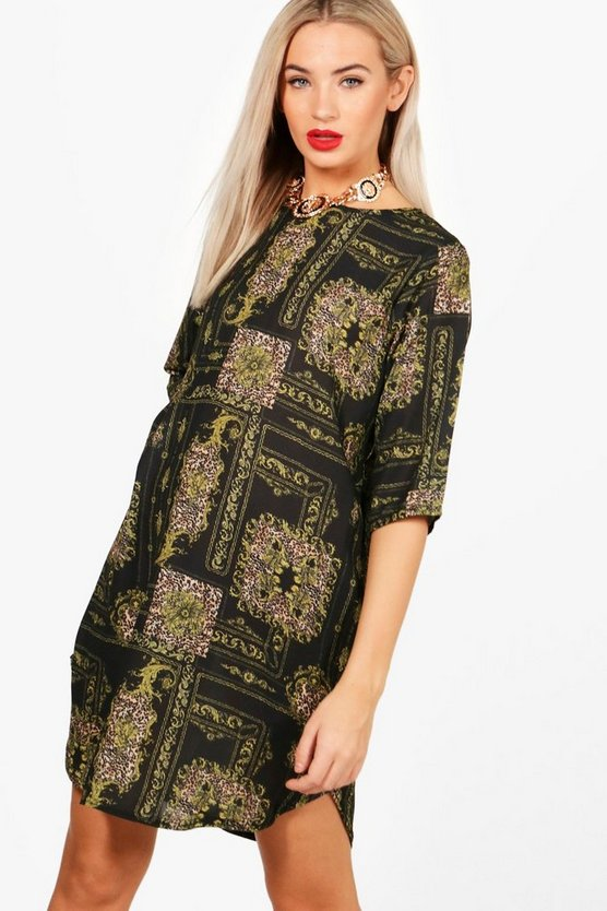 Chain & Leopard Mix Print Shift Dress